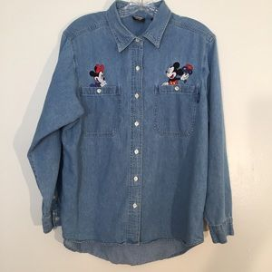 Disney Mickey mouse embroidered jean shirt sz L